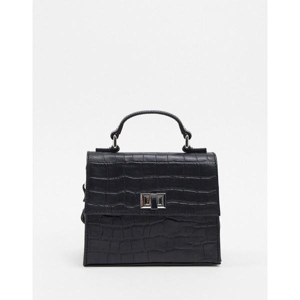 エイソス レディース 財布 アクセサリー ASOS DESIGN leather cross body croc mini satchel bag Black