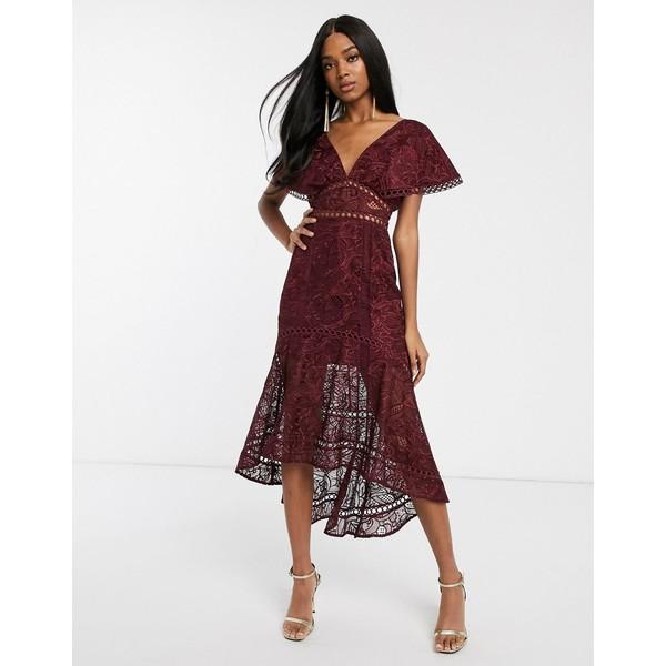 エイソス レディース ワンピース トップス ASOS DESIGN flutter sleeve midi dress in corded lace with circle trim detail Burgundy