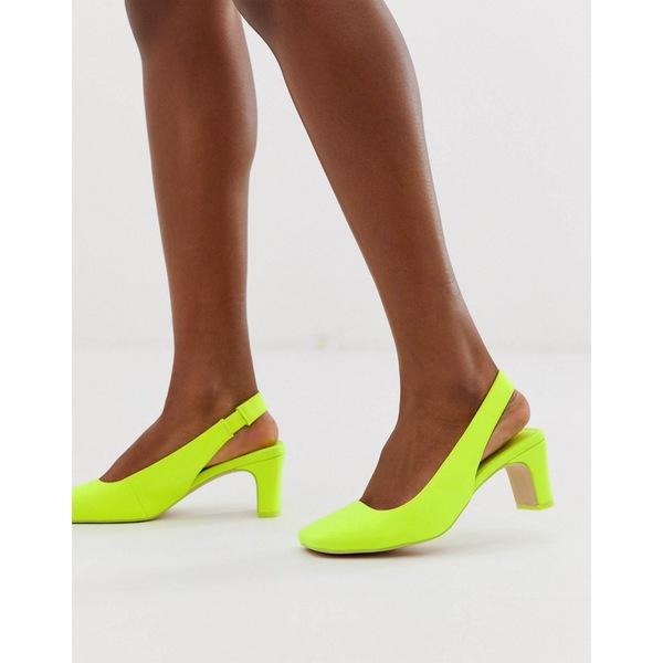 エイソス レディース ヒール シューズ ASOS DESIGN Serpent slingback mid heels in neon yellow Neon yellow