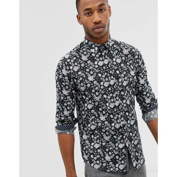 テッドベーカー メンズ シャツ トップス Ted Baker long sleeve linen shirt with floral print Black