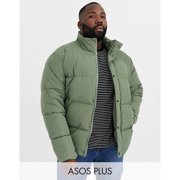 エイソス メンズ ジャケット&ブルゾン アウター ASOS DESIGN Plus sustainable puffer jacket in khaki with funnel neck Khaki