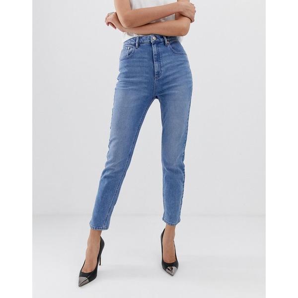 エイソス レディース デニムパンツ ボトムス ASOS DESIGN Farleigh high waisted slim mom jeans in light stone wash Prince wash