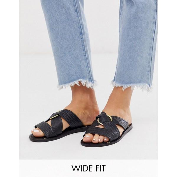 エイソス レディース サンダル シューズ ASOS DESIGN Wide Fit Frankie leather ring detail flat sandals Black croc