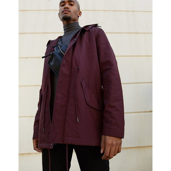 エイソス メンズ ジャケット&ブルゾン アウター ASOS DESIGN parka jacket in burgundy with fleece lining Burgundy