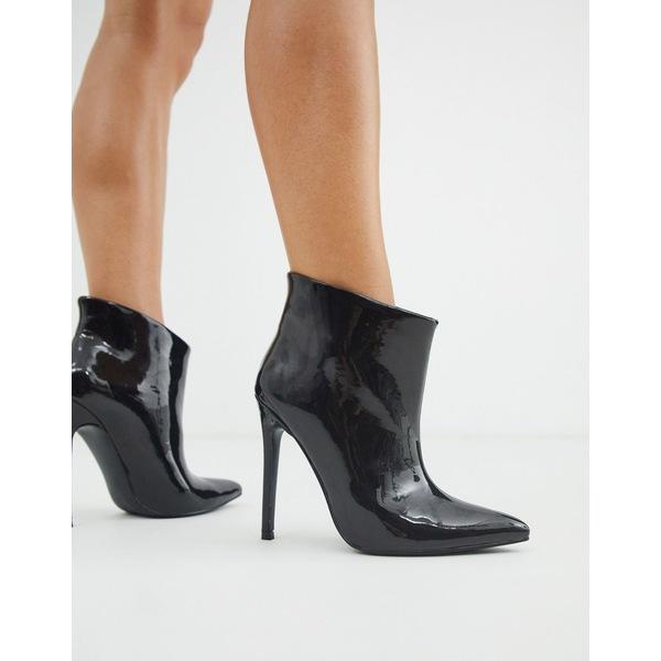 エイソス レディース ブーツ&レインブーツ シューズ ASOS DESIGN Effortless pull on ankle boots in black patent Black patent