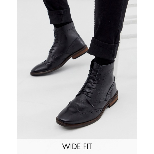 エイソス メンズ ブーツ&レインブーツ シューズ ASOS DESIGN Wide Fit brogue boots in black leather with natural sole Black