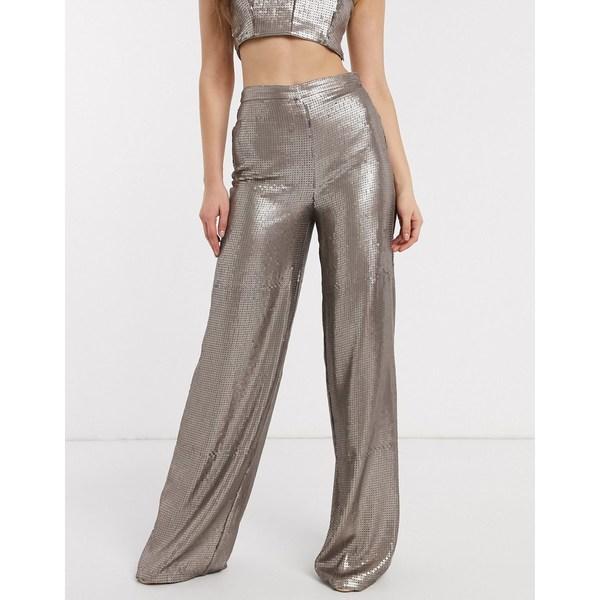エイソス レディース カジュアルパンツ ボトムス ASOS DESIGN all over sequin wide leg pants two-piece Pewter