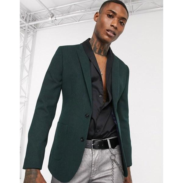 エイソス メンズ ジャケット&ブルゾン アウター ASOS DESIGN super skinny wool mix blazer in forest green Green