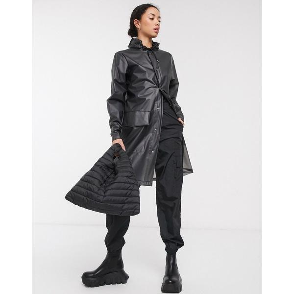 レインズ レディース コート アウター Rains clear hooded coat Foggy black