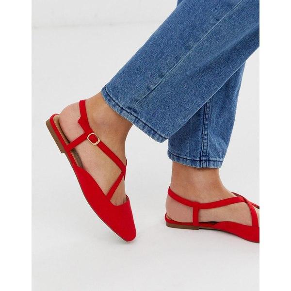 エイソス レディース サンダル シューズ ASOS DESIGN Loyal cross strap square toe ballet flats in red Red