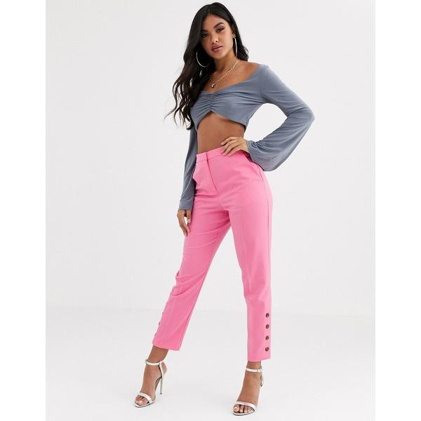 エイソス レディース カジュアルパンツ ボトムス ASOS DESIGN slim pants with ankle button detail Pink