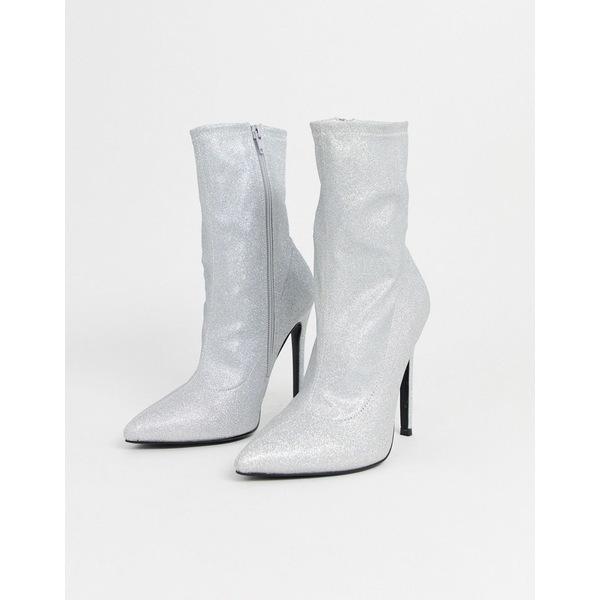 エイソス レディース ブーツ&レインブーツ シューズ ASOS DESIGN Esmerelda high heeled sock boots in silver glitter Silver glitter