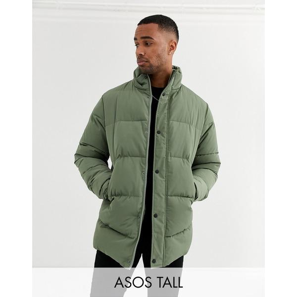 エイソス メンズ ジャケット&ブルゾン アウター ASOS DESIGN Tall sustainable puffer jacket in khaki with funnel neck Khaki