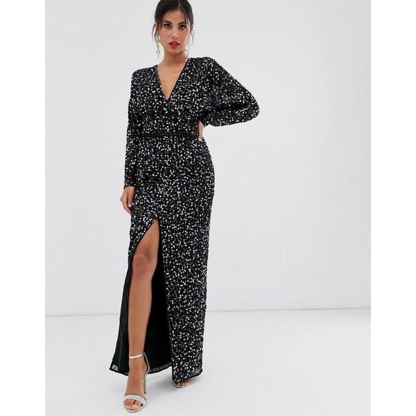 エイソス レディース ワンピース トップス ASOS DESIGN maxi dress with batwing sleeve and wrap waist in scatter sequin Black