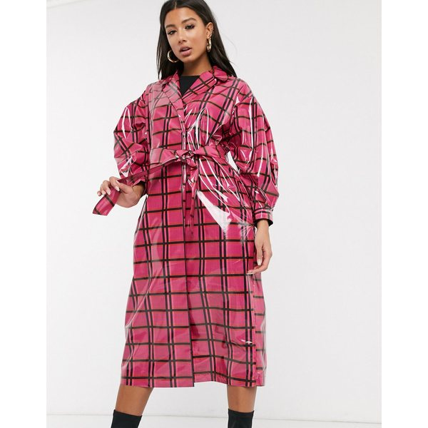 エイソス レディース コート アウター ASOS DESIGN vinyl check trench coat in pink Pink check