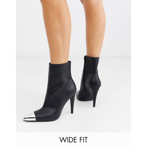 エイソス レディース ブーツ&レインブーツ シューズ ASOS DESIGN Wide Fit Exeter metal toe cap boots in black Black