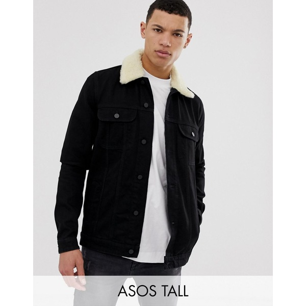 エイソス メンズ ジャケット&ブルゾン アウター ASOS DESIGN Tall denim jacket with detachable fleece collar in black Black