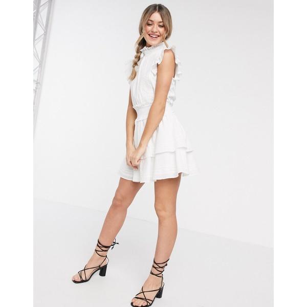 クレオベラ レディース ワンピース トップス Cleobella versailles high neck frilly mini dress in white White