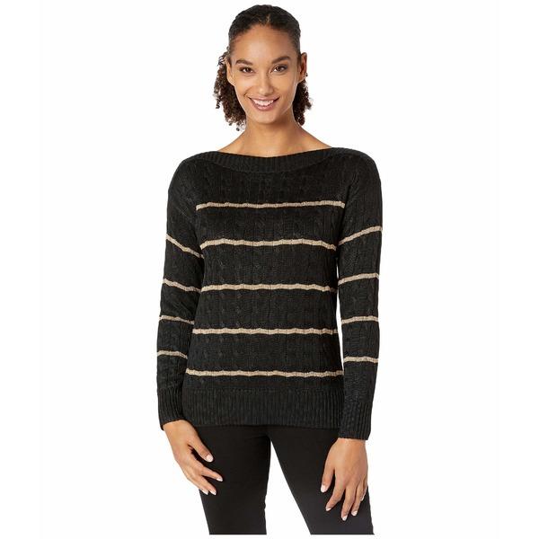 ラルフローレン レディース ニット&セーター アウター Striped Cable-Knit Sweater Polo Black/Gold
