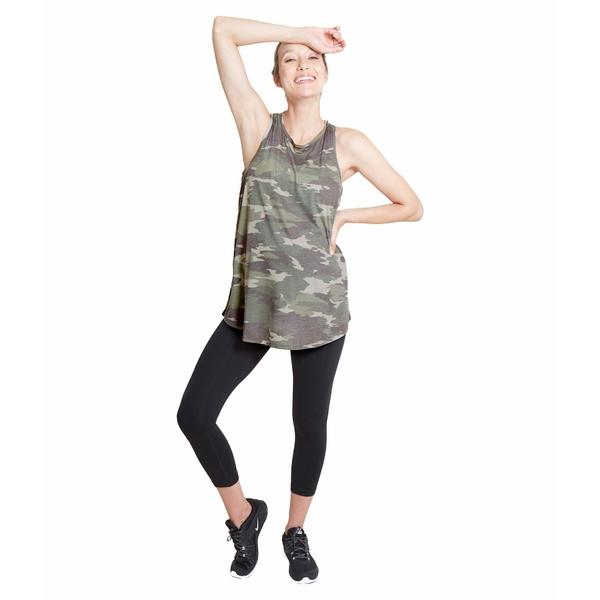 イングリッドアンドイザベル レディース シャツ トップス Maternity Active Cross-Back Tank Green Camo Print