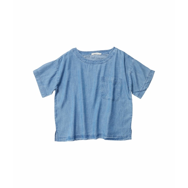 モッドドック レディース シャツ トップス Crosshatch Tencel Denim Short Sleeve Patch Pocket Boxy Top Blue