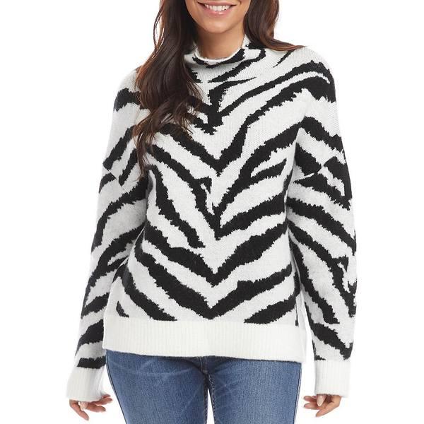 Print Knit Sweater Jacquard Off ニット&セーター レディース アウター White/Black カレンケーン Zebra Textured Neck Mock