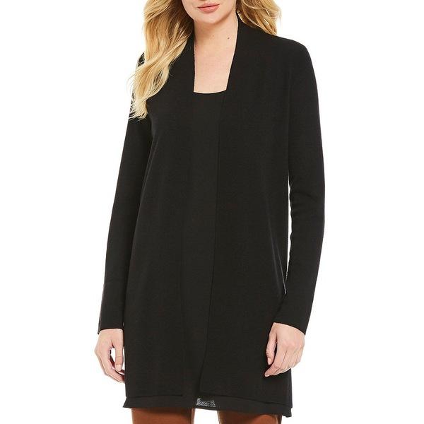 レディース Slit Cardigan Wool Side Black ニット&セーター エイリーンフィッシャー Long アウター Simple