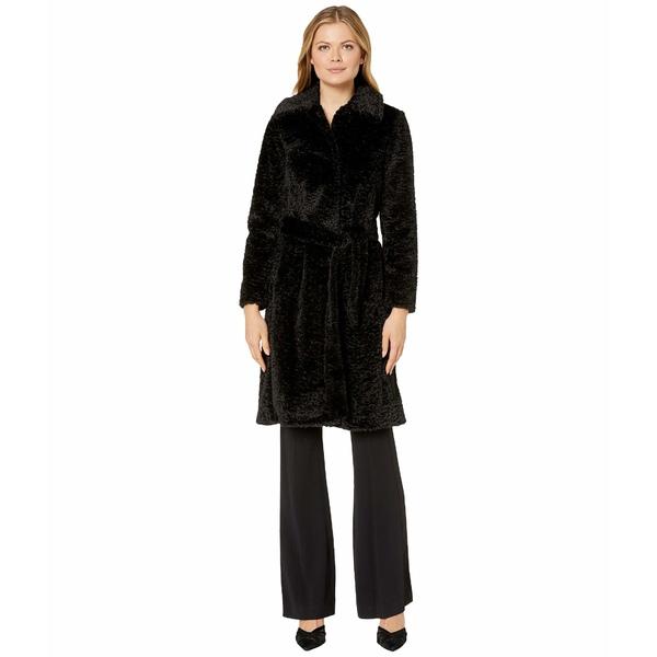 ヴィンスカムート レディース コート アウター Belted Faux Fur Jacket V29711A Black
