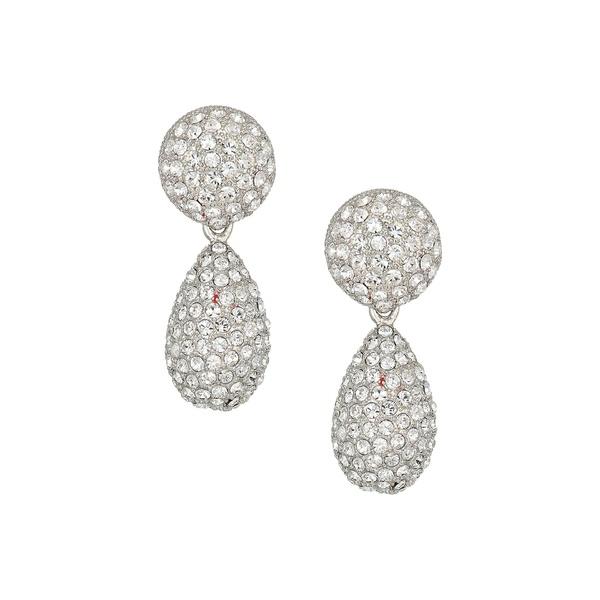 ニナ レディース ピアス&イヤリング アクセサリー Medium Teardrop Pave Swarovski Stones Earrings Rhodium/White