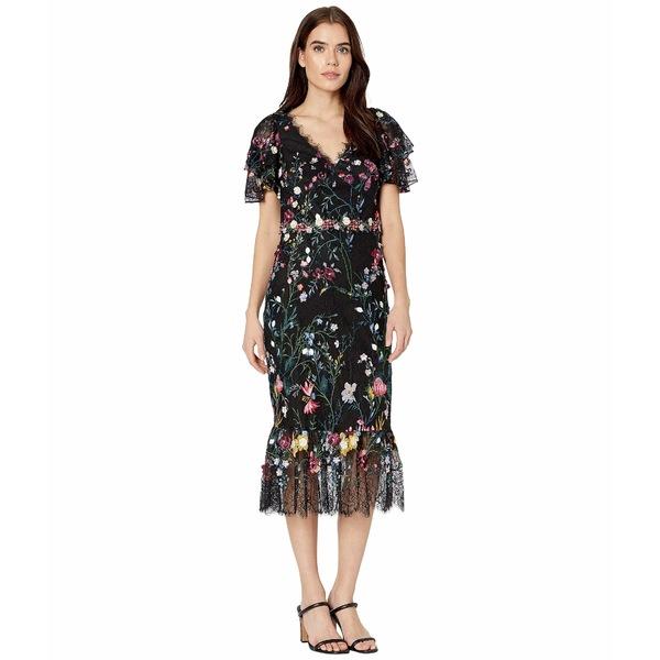 マルケサノット レディース ワンピース トップス Flutter Sleeve V-Neck Embroidered Lace Dress w/ 3D Flowers Black