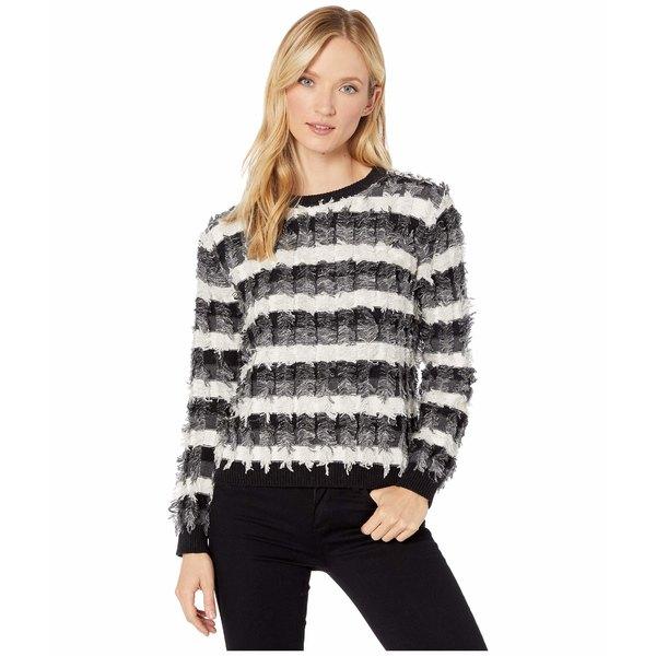 ヴィンスカムート レディース ニット&セーター アウター Long Sleeve Striped Fringe Sweater Antique White