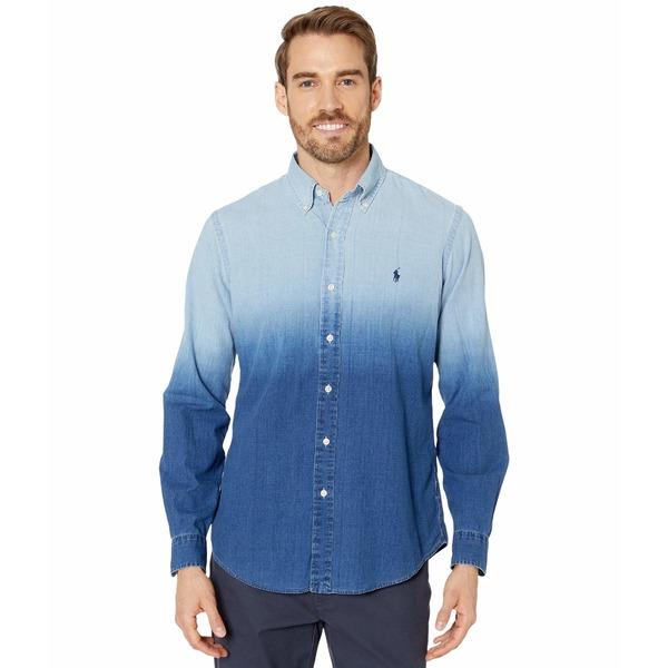 ラルフローレン メンズ シャツ トップス Long Sleeve Indigo Woven Packaged Blue Dip Dye