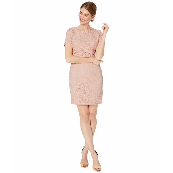 ラルフローレン レディース ワンピース トップス Petite Lace Popover Dress Pink Macaron