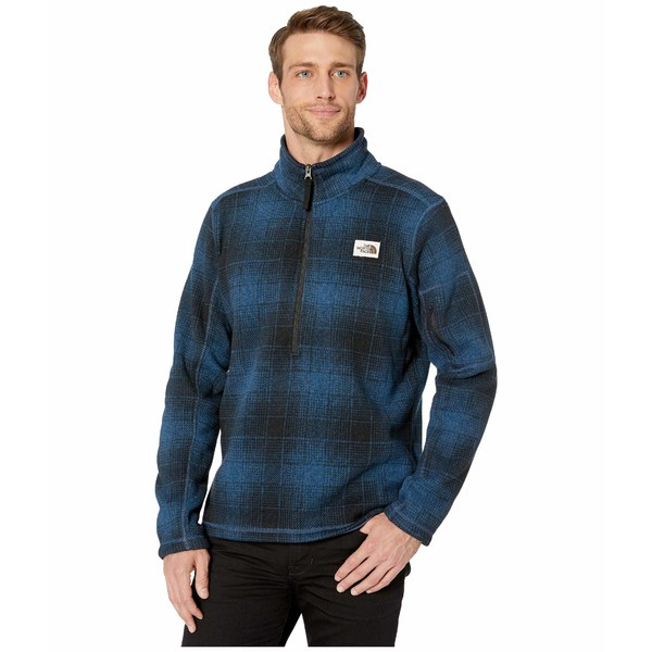 ノースフェイス メンズ コート アウター Gordon Lyons Novelty 1/4 Zip Shady Blue Ombre Plaid Small Print