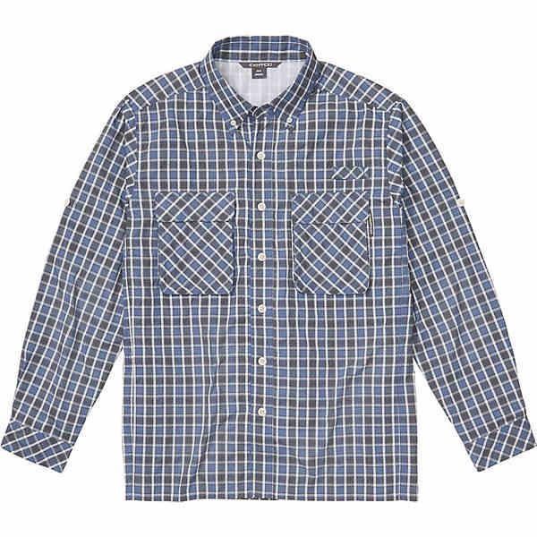 エクスオフィシオ メンズ シャツ トップス ExOfficio Men's Air Strip Check Plaid LS Shirt Admiral Blue