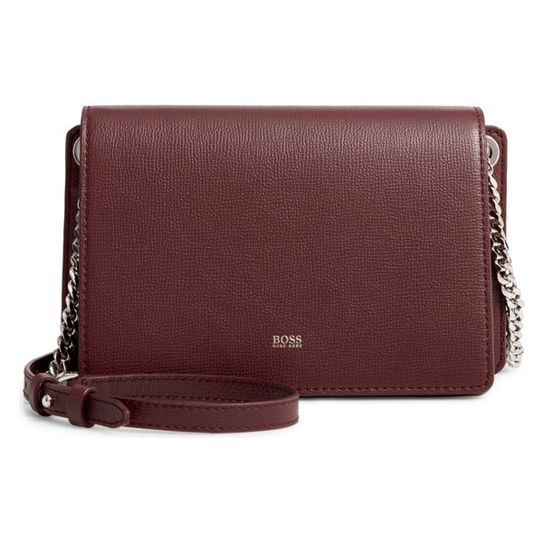 ボス レディース ハンドバッグ バッグ BOSS Taylor Leather Crossbody Bag Dark Red