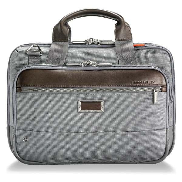 ブリグスアンドライリー メンズ ビジネス系 バッグ Briggs & Riley @work Small Expandable Ballistic Nylon Laptop Briefcase with RFID Pocket Grey