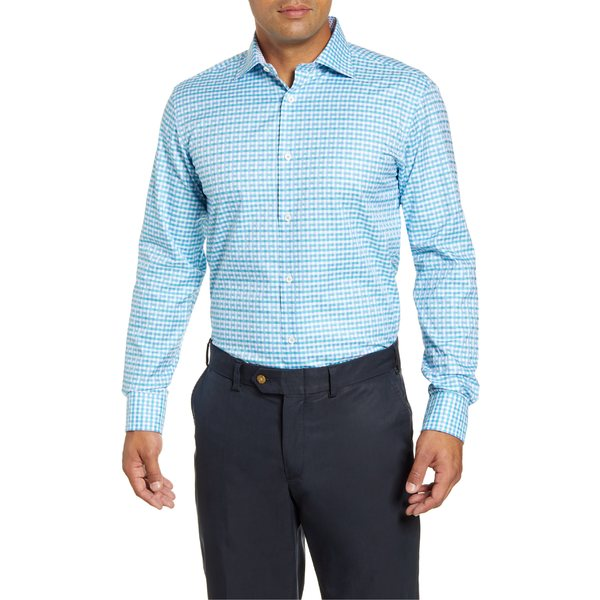 Bugatchi Mens Modern Fit Full Button Self Collar Knit Shirt