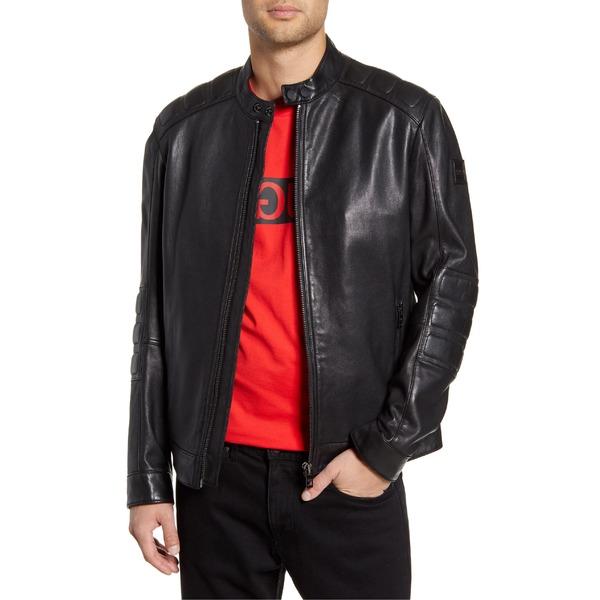 ボス メンズ ジャケット&ブルゾン アウター BOSS Jagson Slim Fit Sheepskin Moto Jacket Black