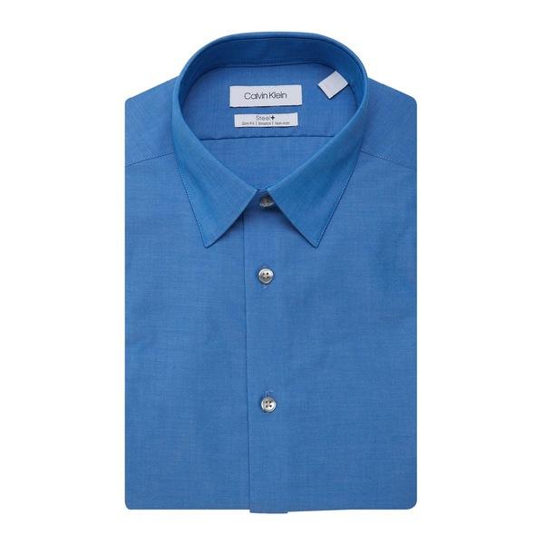 メンズ Blue シャツ Shirt Chambray カルバンクライン Slim-Fit トップス Dress
