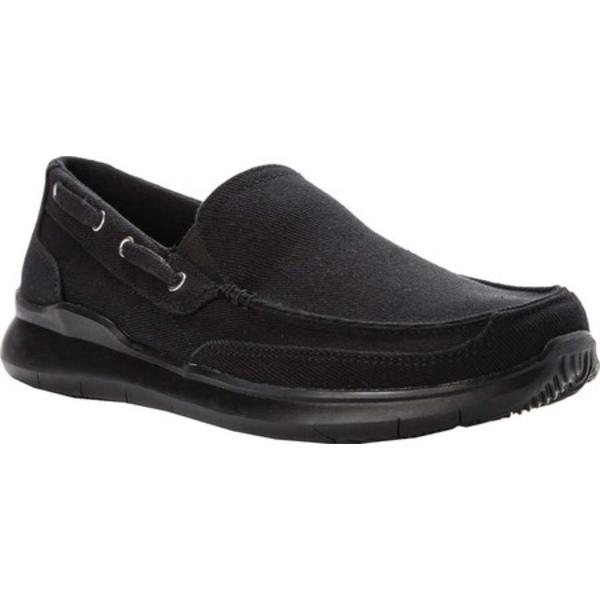 優先配送 プロペット メンズ シューズ デッキシューズ Black Canvas Shoe Boat 全商品無料サイズ交換 Men's Viasol オンラインショップ