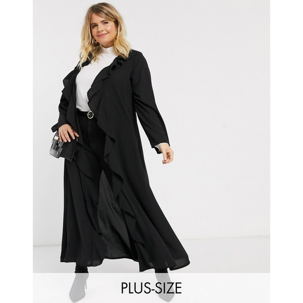 ベローナ レディース コート アウター Verona Curve frill front duster jacket in black Black