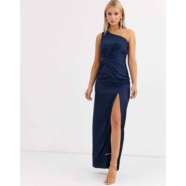 ジャーロ レディース ワンピース トップス Jarlo one shoulder satin maxi dress with split in navy Navy