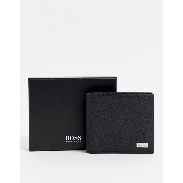 ボス メンズ 財布 アクセサリー BOSS Crosstown leather bifold wallet in black Black