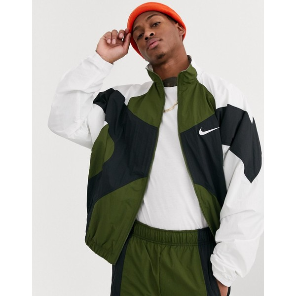 ナイキ メンズ ジャケット&ブルゾン アウター Nike Re-Issues zip-through track jacket in khaki Khaki/white/black