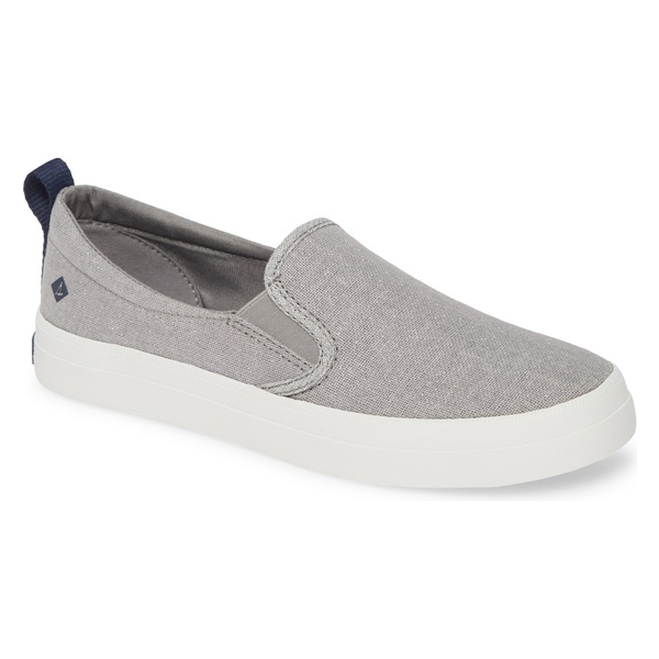 スペリー レディース スニーカー シューズ Sperry Crest Twin Gore Slip-On Sneaker (Women) Silver Sparkle Linen