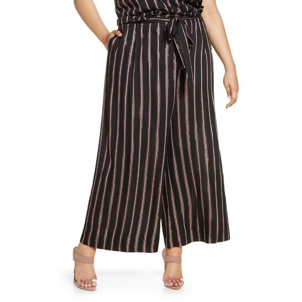 ライチェルレイチェルロイ レディース カジュアルパンツ ボトムス RACHEL Rachel Roy Naida Stripe Wide Leg Pants (Plus Size) Black/ Rose Gold Combo