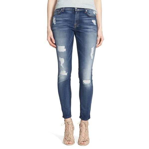 7フォーオールマンカインド レディース カジュアルパンツ ボトムス 7 For All Mankind b(air) Ankle Skinny Jeans Distressed Authentic Light