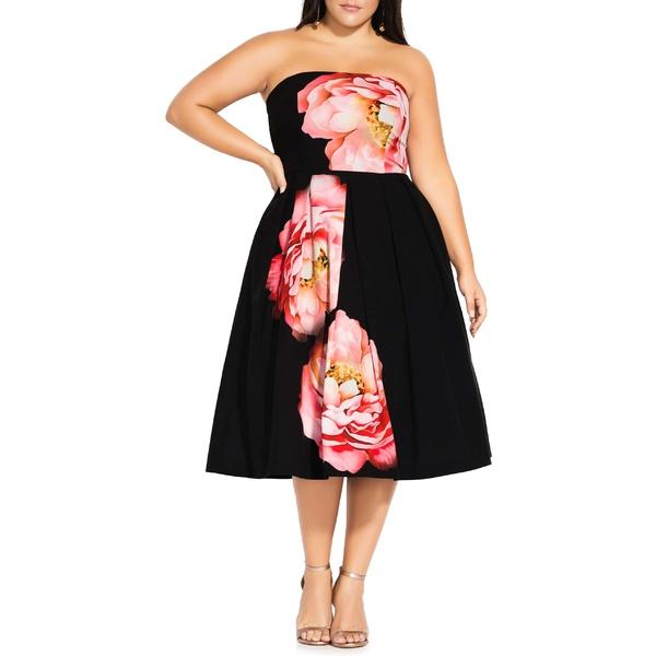 シティーシック レディース ワンピース トップス City Chic Sublime Bloom Convertible Strap Dress (Plus Size) Sublime Floral