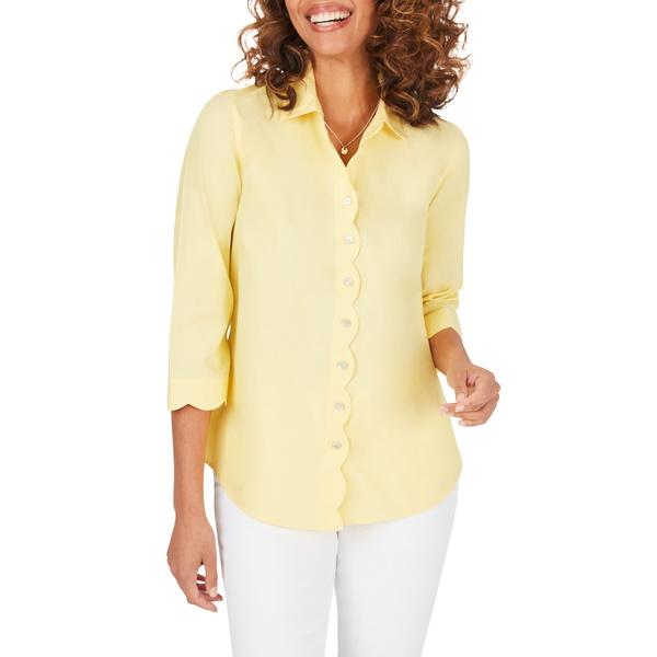 フォックスクラフト レディース シャツ トップス Lily Scallop Detail Non-Iron Shirt Sunbeam